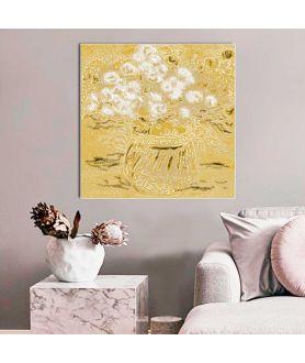 Obraz na płótnie Obraz glamour Białe róże w wazonie, obraz bukiet kwiatów