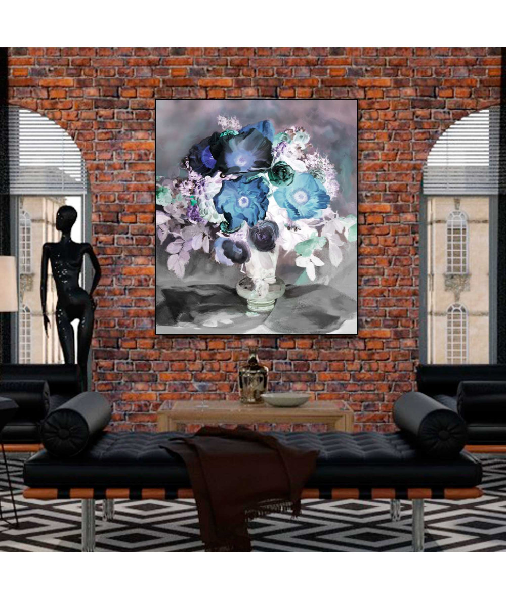 Obraz na płótnie Anemony i róże (1-częściowy) pionowy