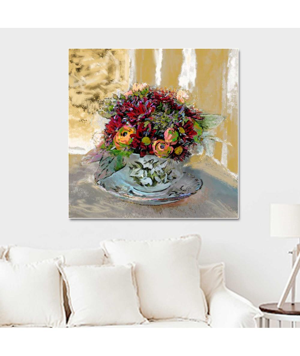 Obraz styl prowansalski Filiżanka z kwiatami