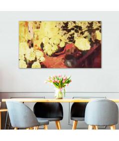 Obraz na płótnie Obraz Martwa natura z żółtymi kwiatami (1-częściowy) szeroki