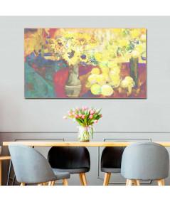 obrazy kwiaty Martwa natura obraz Słoneczniki i cytryny