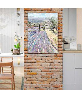 Obraz na płótnie Obraz lawendowe pole Lawenda Prowansji (1-częściowy) pionowy