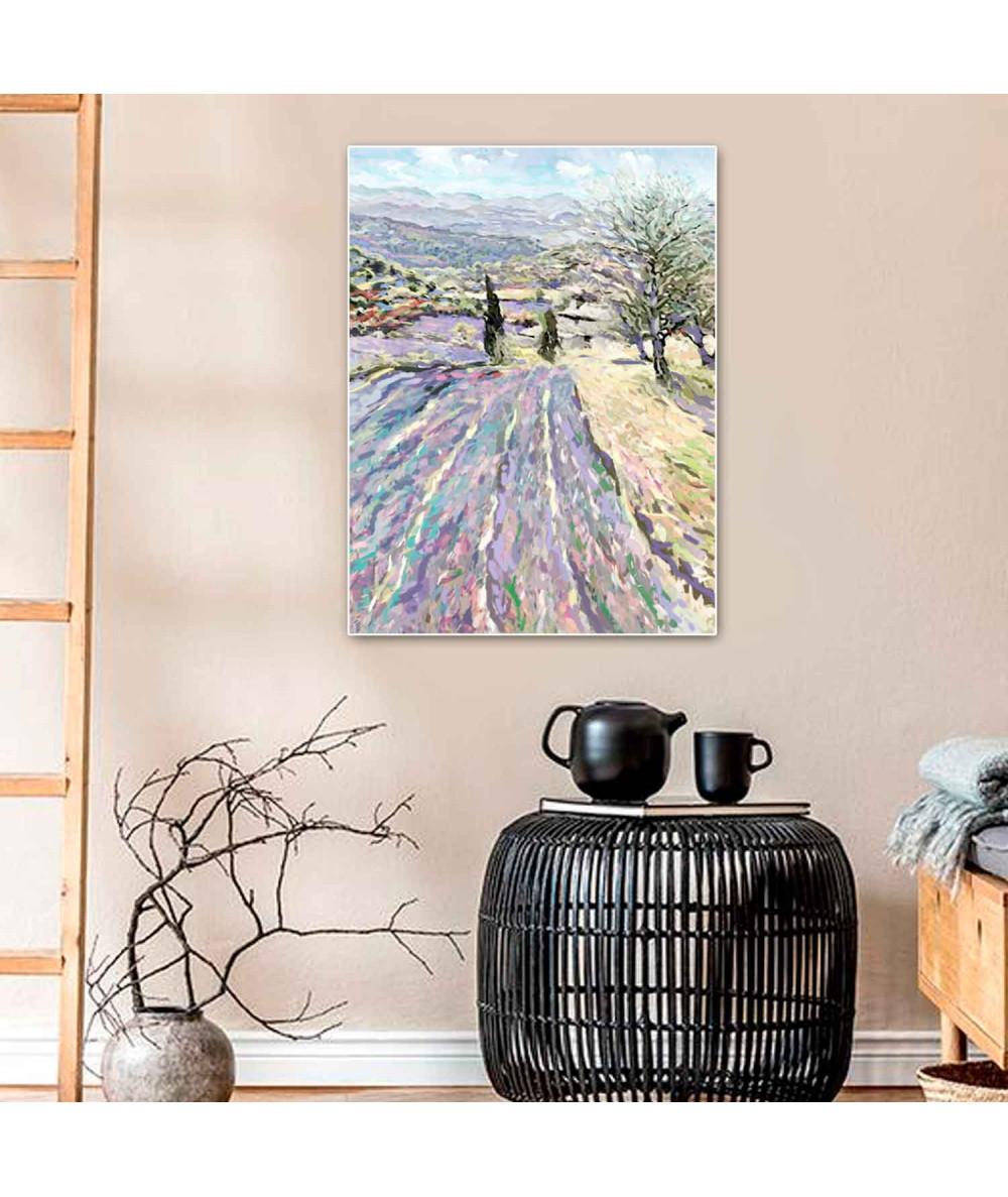 Obrazy pejzaże - Obraz lawendowe pole Lawenda Prowansji (1-częściowy) pionowy