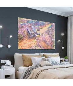 Obrazy pejzaże - Pole lawendowe obraz Prowansja pola lawendy