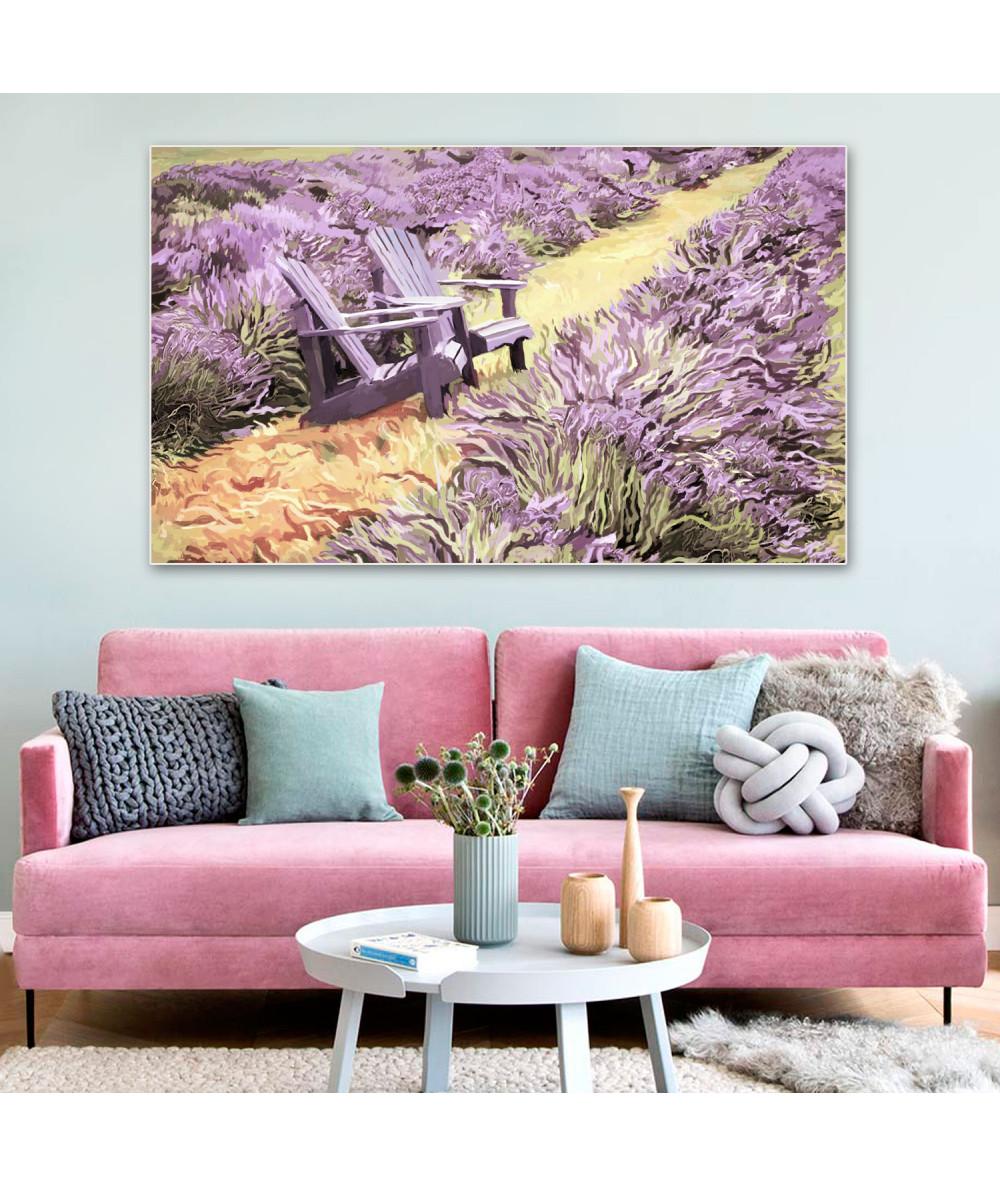 Obrazy pejzaże - Obraz prowansalski z lawendą Pola lawendy