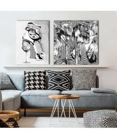 Obraz na płótnie Botki pepitka, biało czarny obraz grafika