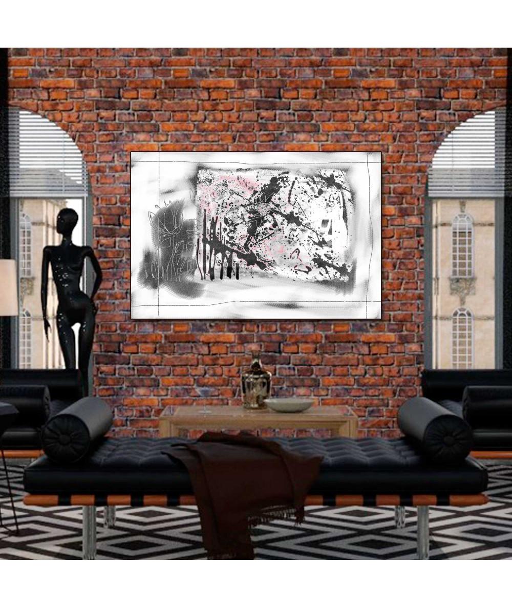 Obrazy czarno białe - Obraz abstrakcyjny czarno biały Ogród (1-częściowy) szeroki
