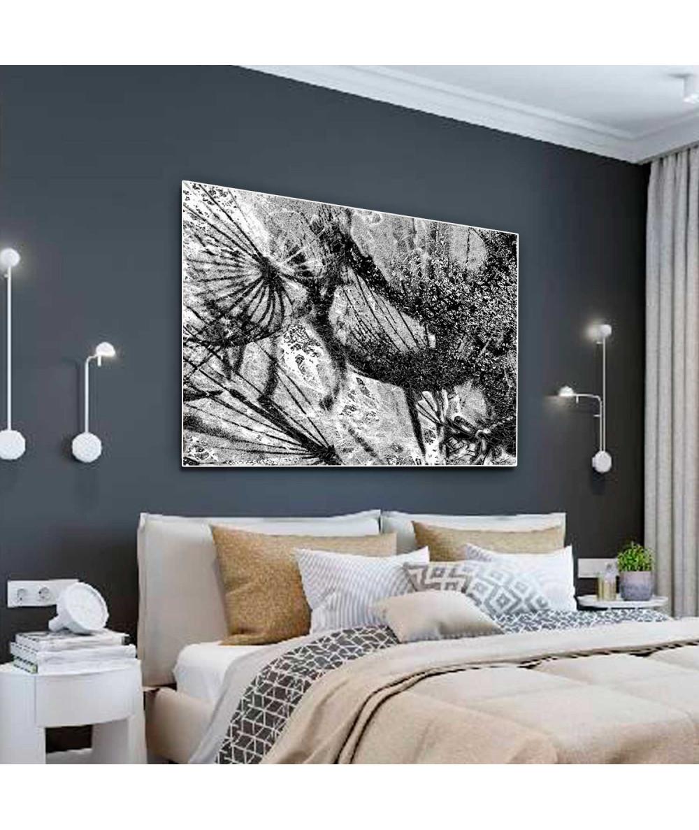Obrazy czarno białe - Obraz czarno biały Kraina dmuchawców (1-częściowy) szeroki