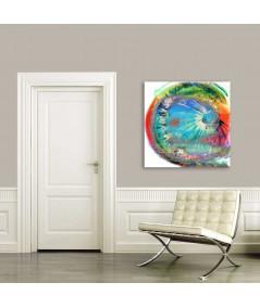 Obraz na płótnie Obraz nowoczesny Dmuchawiec i tęcza (1-częściowy) kwadrat