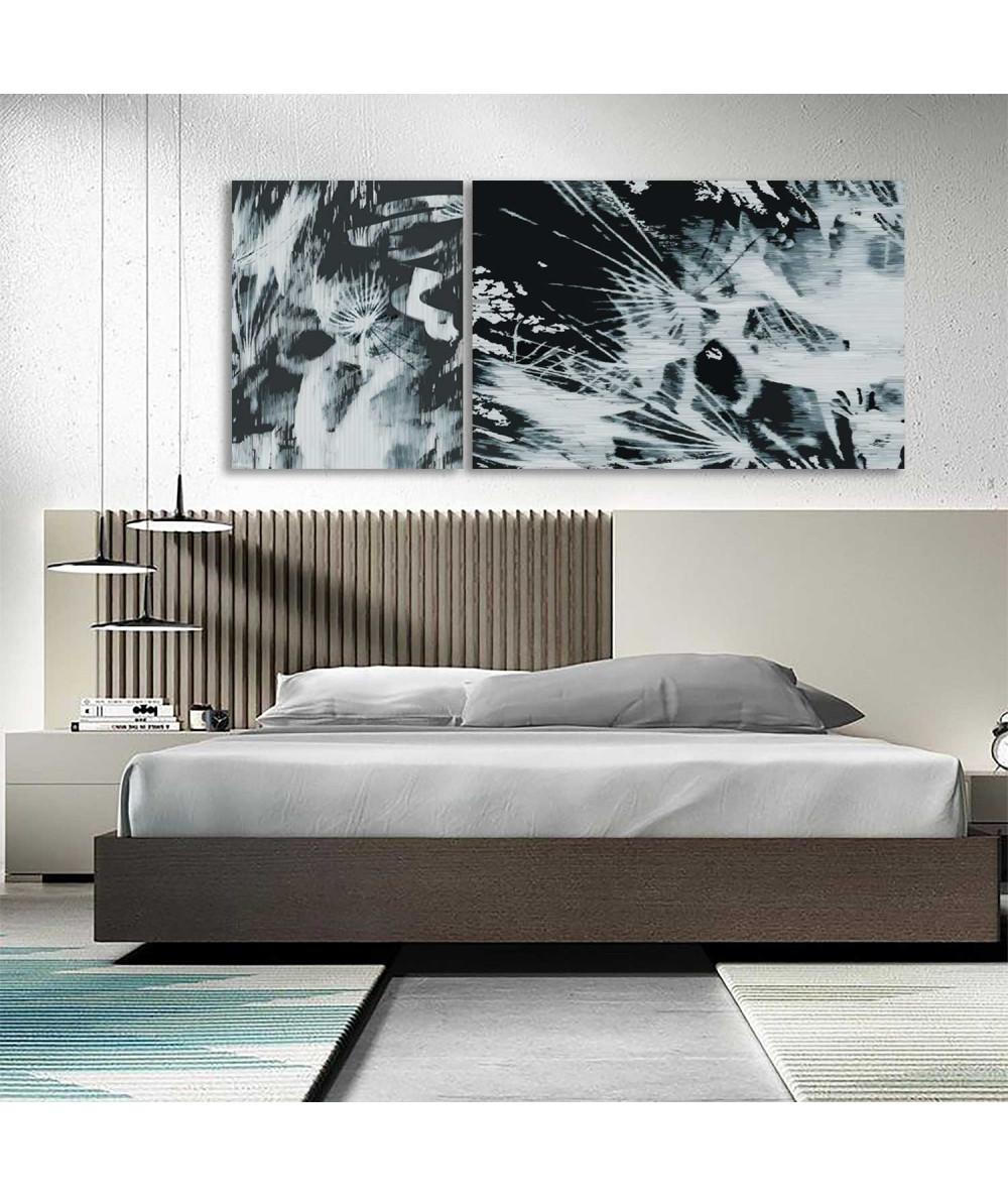 Obrazy czarno białe - Obraz Dmuchawce wybuch (2-częściowy) długi