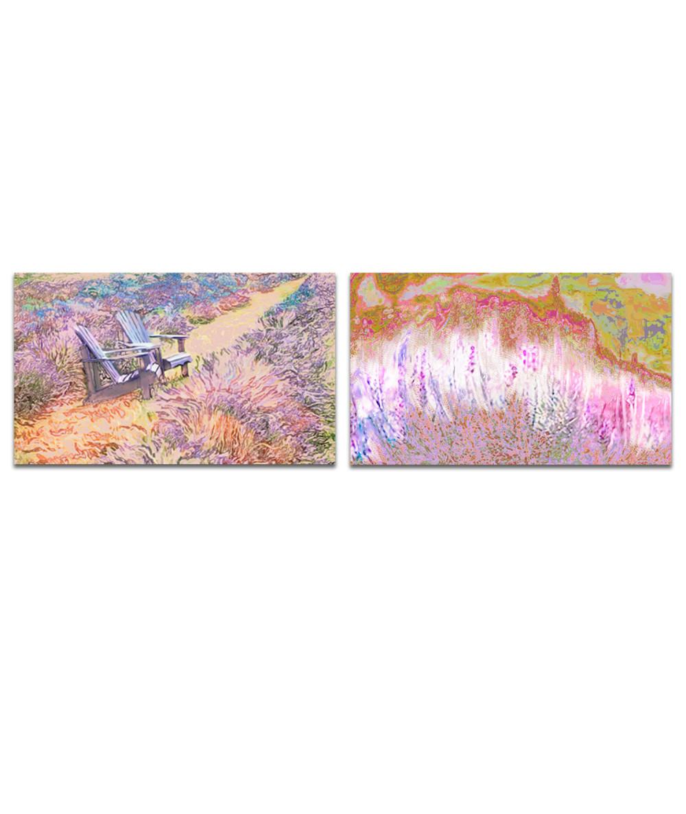 Obraz na płótnie Obraz Dyptyk prowansalskie pola (2-częściowy) długi