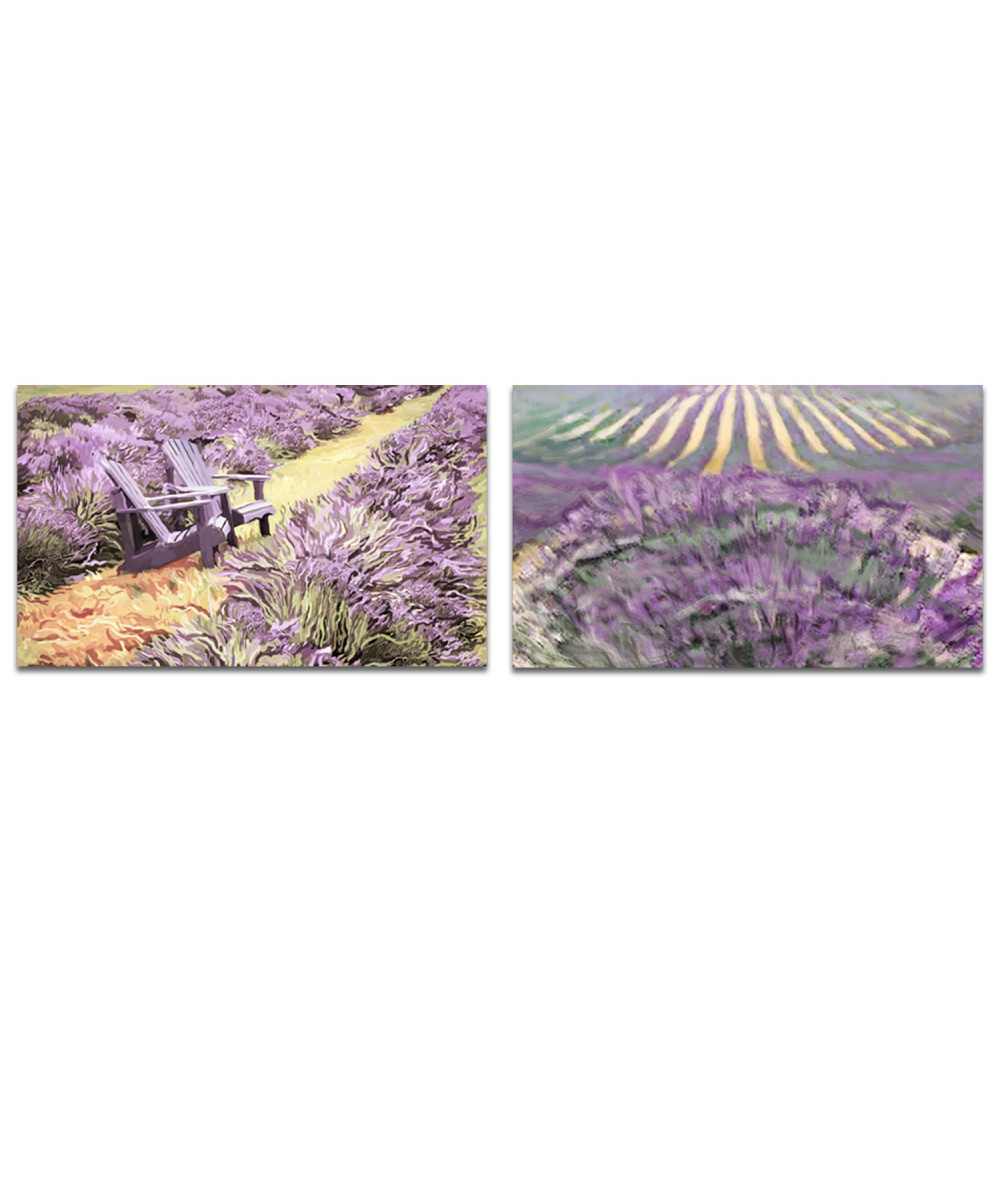 Obraz Dyptyk fioletowe pola (2-częściowy) długi