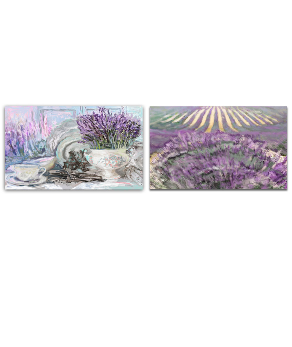 obrazy kwiaty Obraz Dyptyk sielska lawenda (2-częściowy) długi