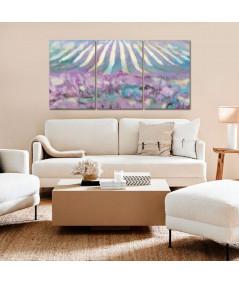 Obraz na płótnie Obraz dzielony Pole lawendy panorama dzielona (3-częściowa)