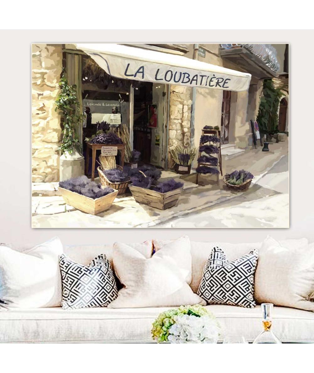 Obrazy pejzaże - Malownicza uliczka obraz Prowansja kwiaciarnia z lawendą