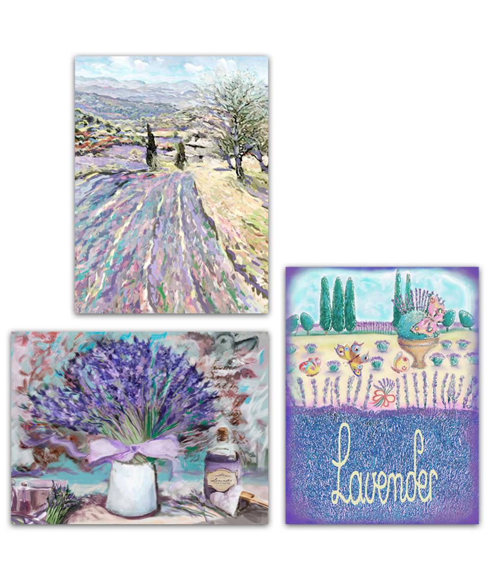 obrazy kwiaty Obraz Tryptyk lawendowa Prowansja (3-częściowy) długi
