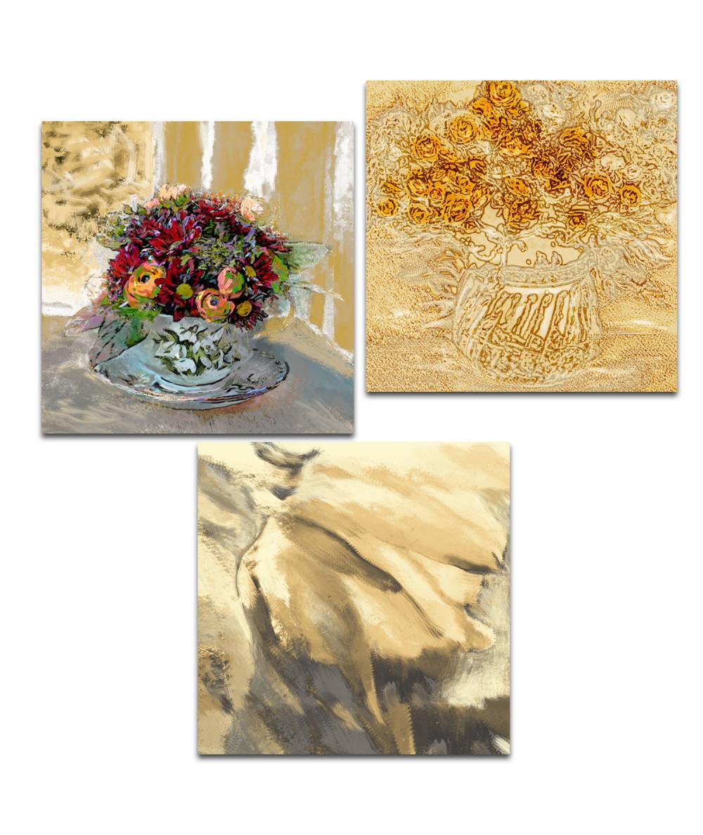 Obraz Tryptyk złoty kwiaty (3-częściowy) długi