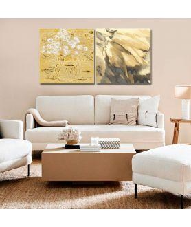 Obrazy kwiaty - Obraz Dyptyk glamour kwiaty (2-częściowy) długi