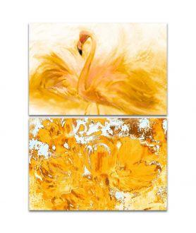Obraz słoneczny Dyptyk żółty (2-częściowy) długi