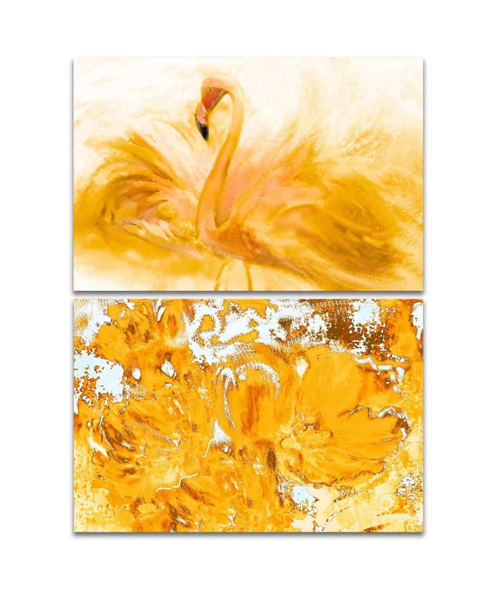 Obraz na płótnie Obraz słoneczny Dyptyk żółty (2-częściowy) długi