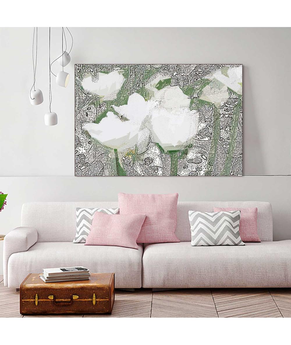 obrazy kwiaty Grafika obraz Białe tulipany (1-częściowy) szeroki