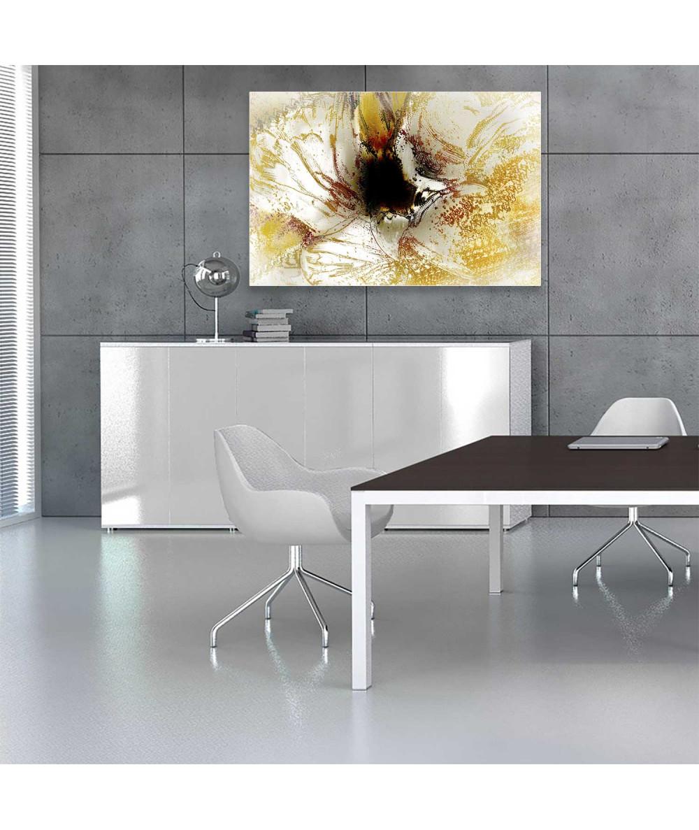 Obrazy kwiaty - Grafika obraz Impresja z tulipanem (1-częściowy) szeroki
