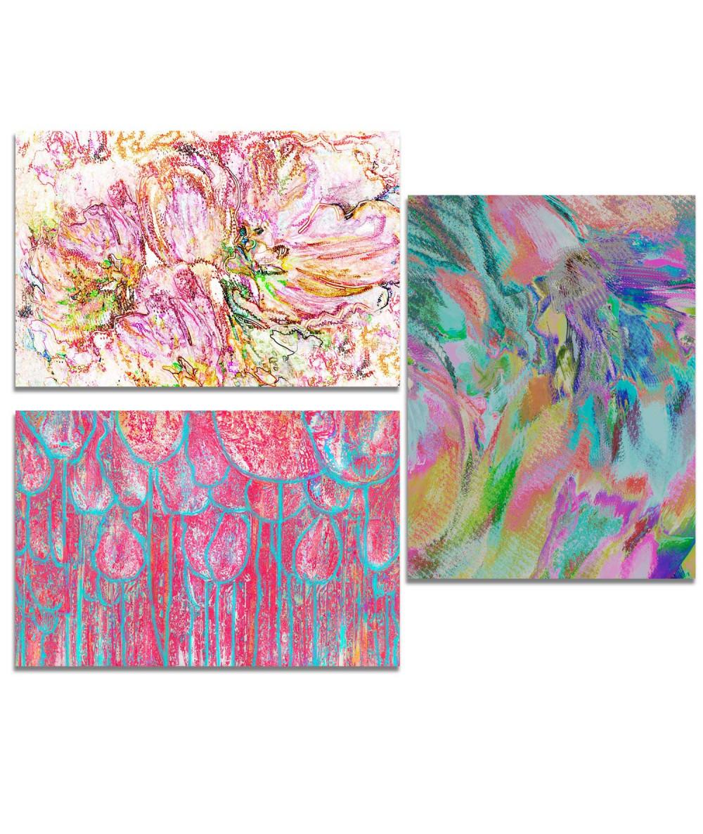 Obraz na płótnie Obraz plakat Tryptyk kwiaty tulipanów (3-częściowy) długi