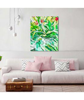 obrazy kwiaty Grafika na ścianę Tulipany w wiadrze grafika (pionowa)