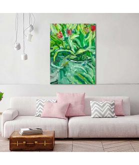 obrazy kwiaty Piękny obraz Tulipany w wiadrze wysokie (1-częściowy) pionowy