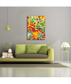 obrazy kwiaty Obraz Tulipany wielobarwne wysokie (1-częściowy) pionowy