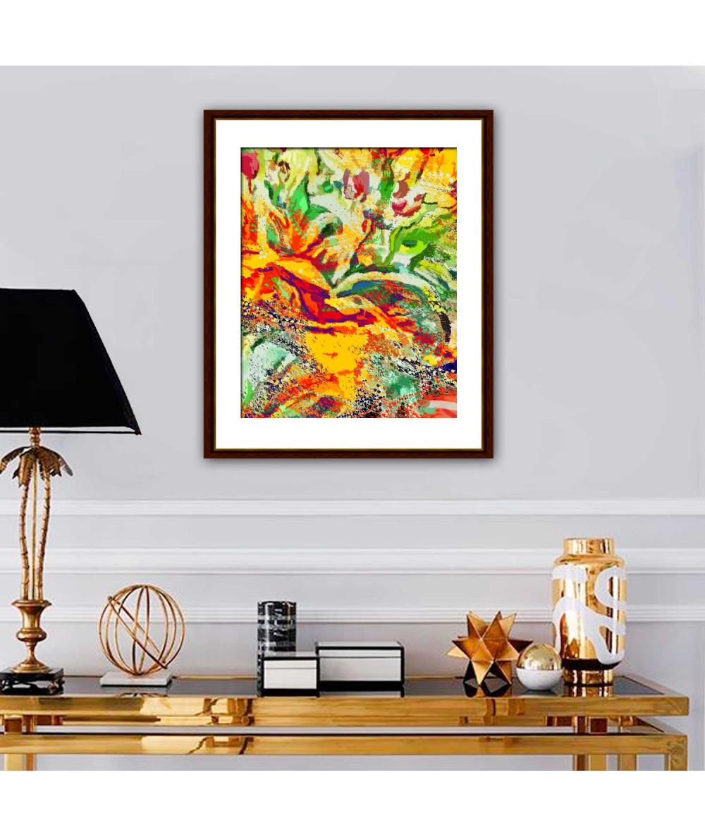 Obraz kolorowa abstrakcja Tulipany wielobarwne (1-częściowy) pionowy