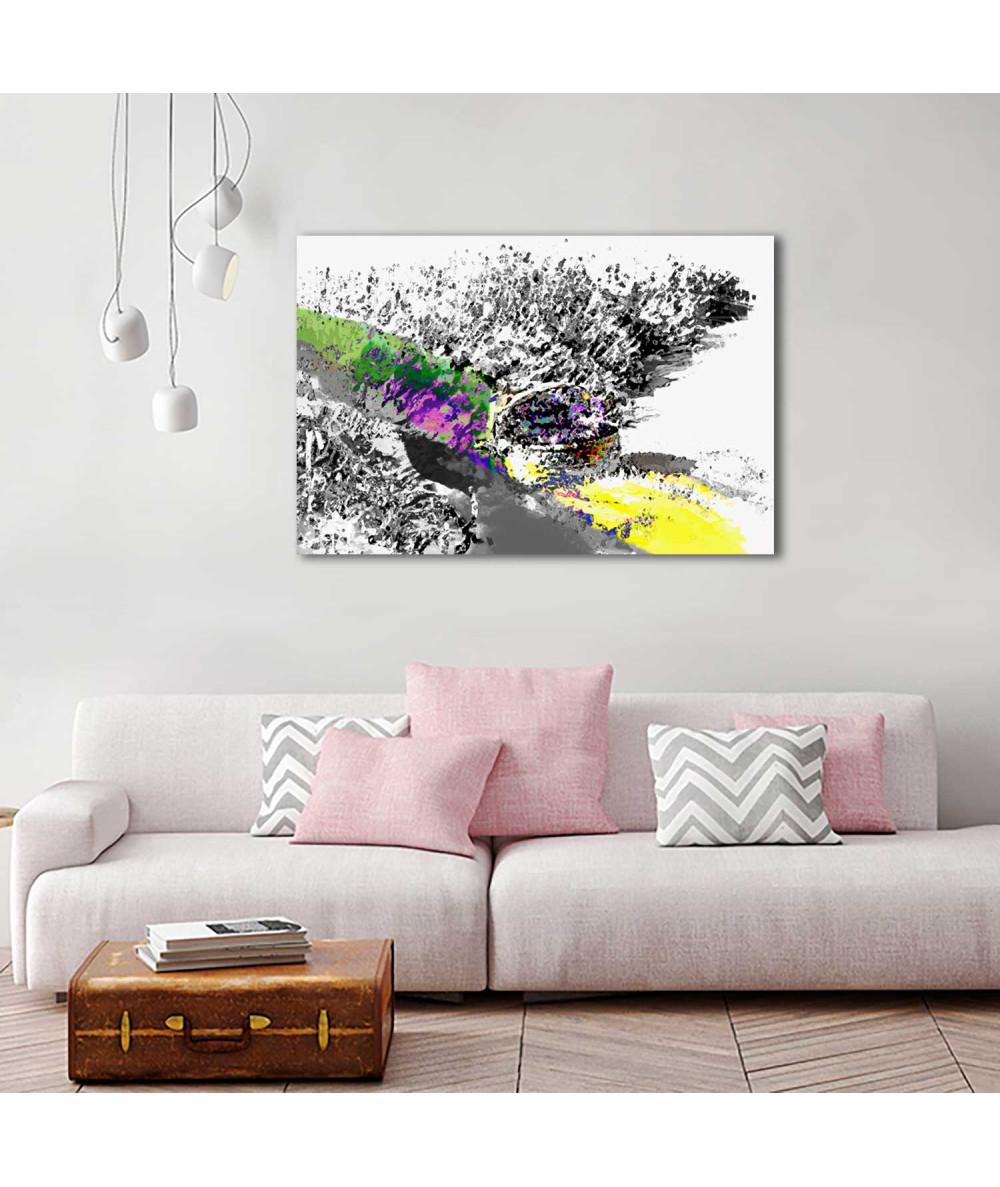 obrazy kwiaty Grafika Czarno biała lawenda z kolorem