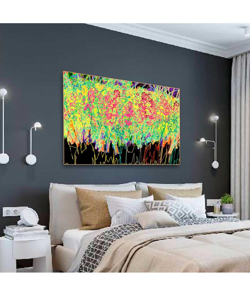 obrazy kwiaty Kolorowa grafika Prosta lawenda z kolorem