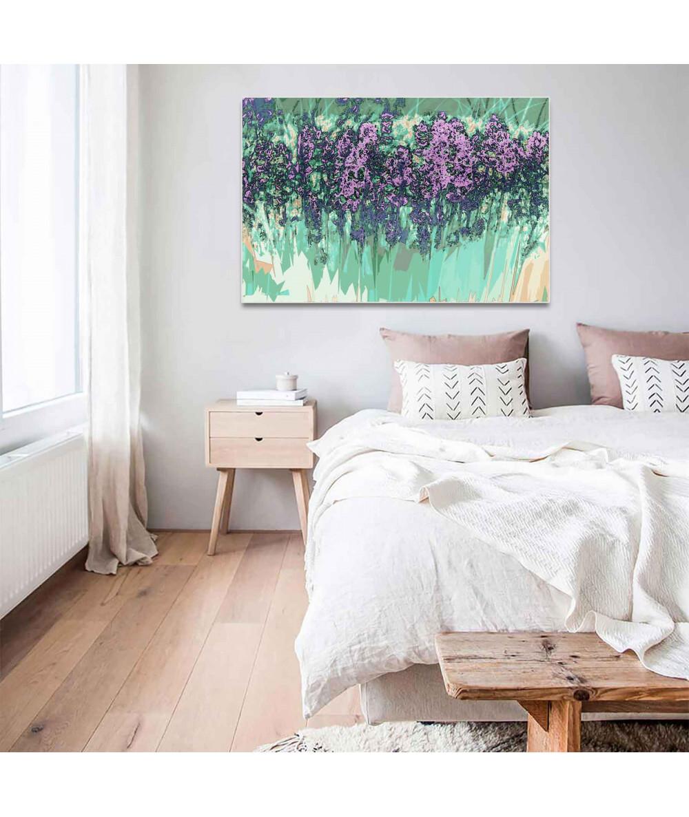 obrazy kwiaty Grafika nowoczesna na ścianę Fioletowa lawenda
