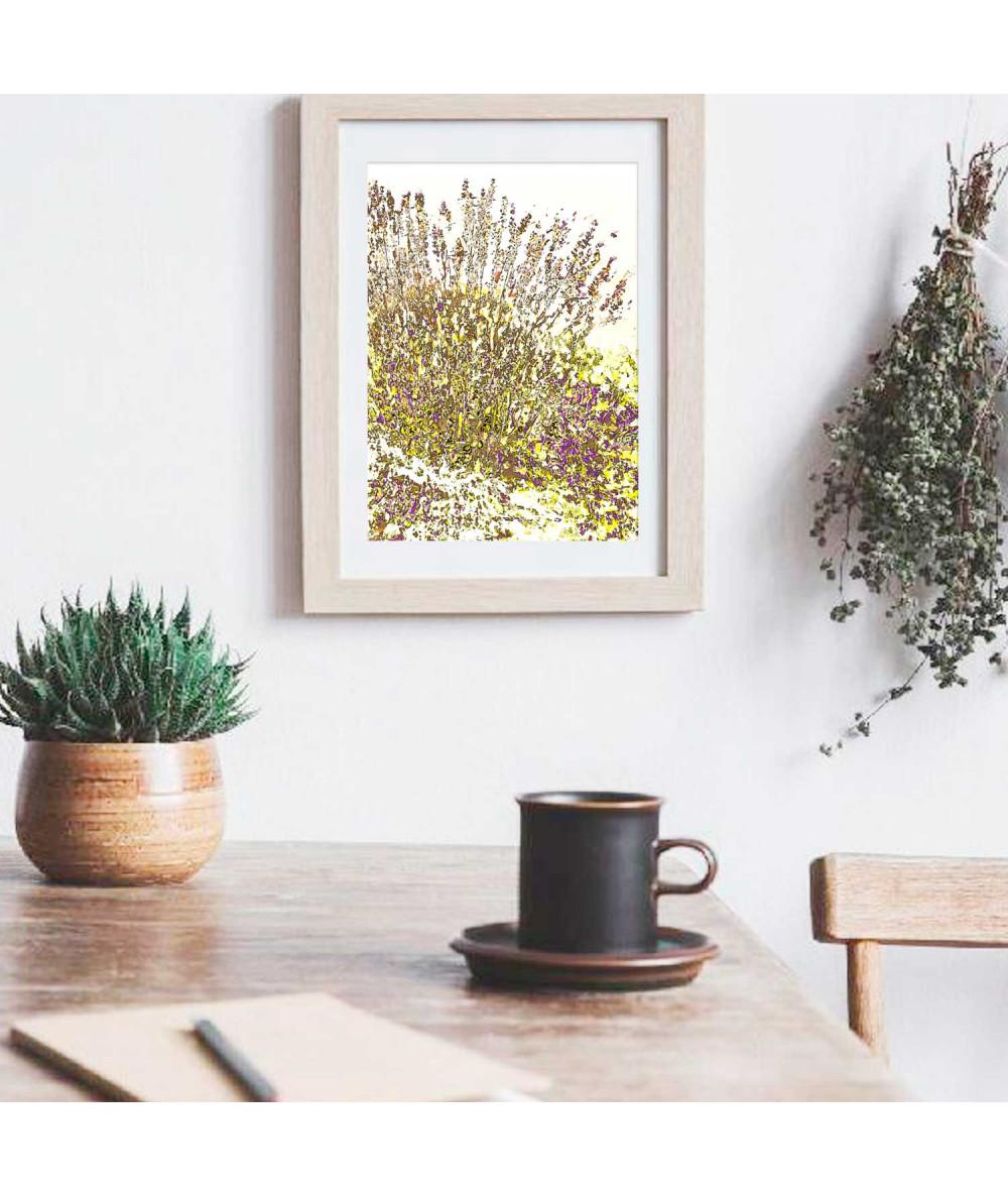 obrazy kwiaty Grafika z lawendą pionowa na ścianę Mała lawenda