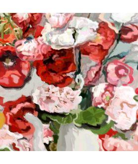 obrazy kwiaty Kwiaty obrazy na płótnie Maki i pelargonie szeroki