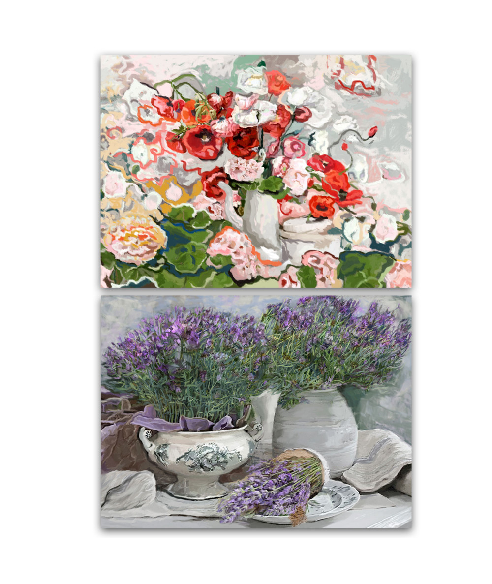Obrazy 2 elementowe Kwiaty w stylu vintage