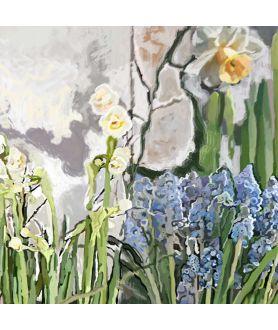 Obrazy kwiaty - Obrazy wiosenne kwiaty Białe żonkile narcyzy i wiosenne szafirki