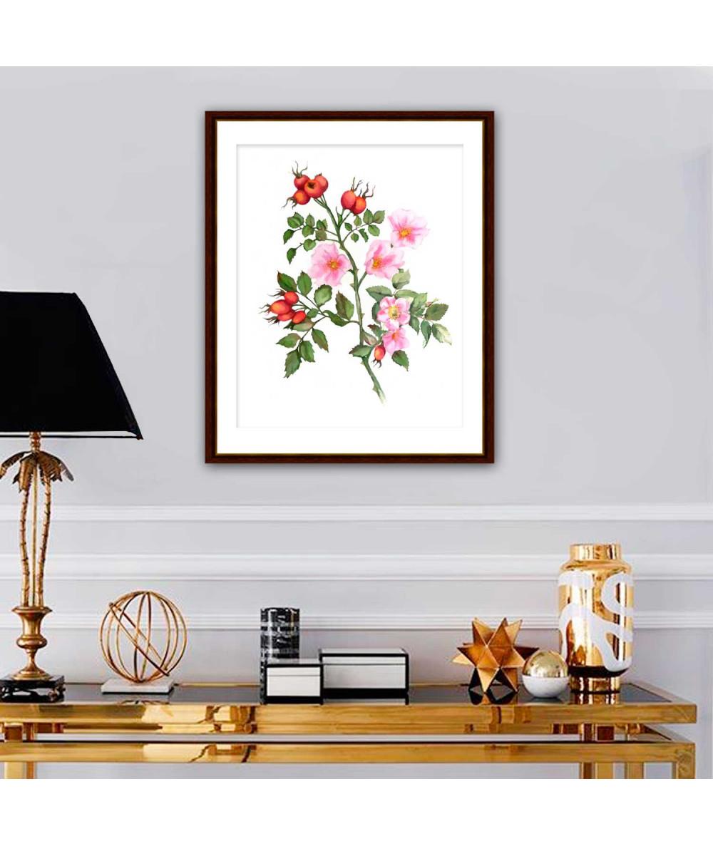 obrazy kwiaty Obrazek róży Róża dzika akwarela (pionowy)
