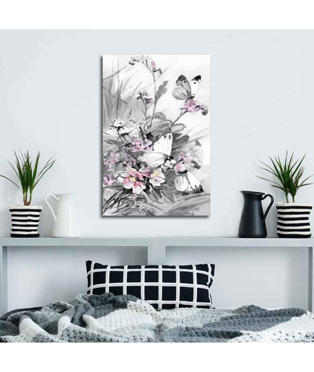 Obrazek z różowym akcentem Motyle i polne kwiaty