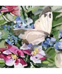 Motyle akwarela na ścianę Róże niezapominajki i motyle