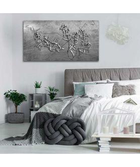 Obrazy kwiaty - Srebrny obraz na ścianę Srebrne kwiaty
