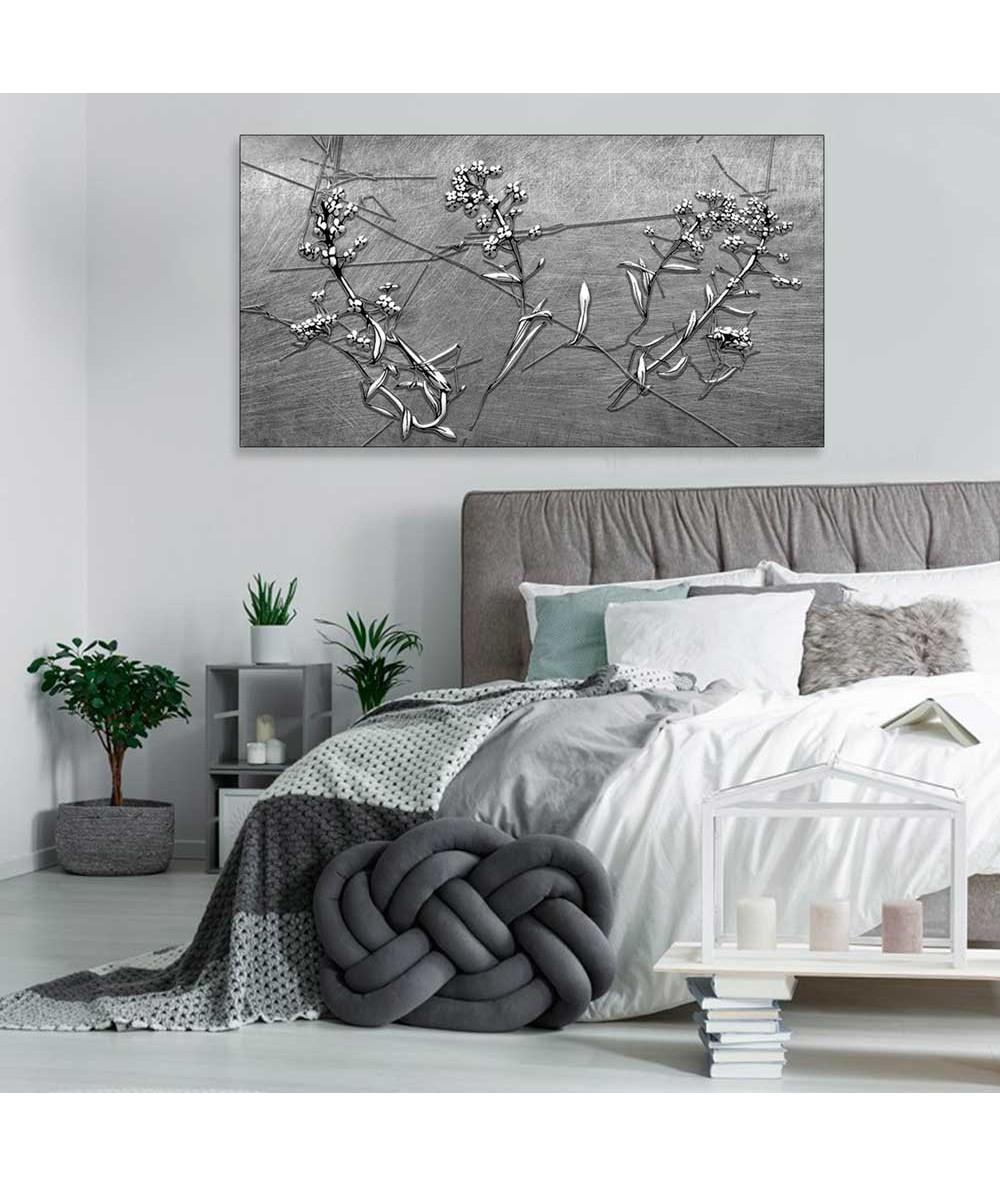 Obraz czarno biały abstrakcja Kwiatowa abstrakcja