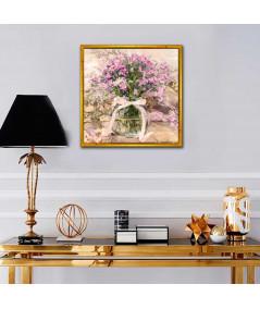 Obraz na ścianę Różowe niezapominajki w słoju (obraz kwadratowy)