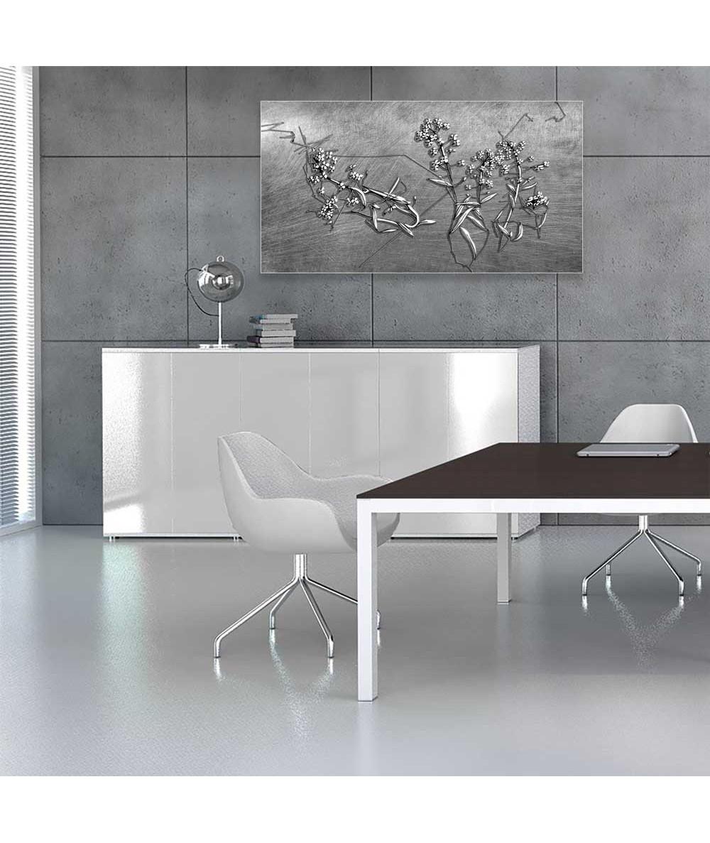 Srebrny obraz na ścianę Srebrne kwiaty