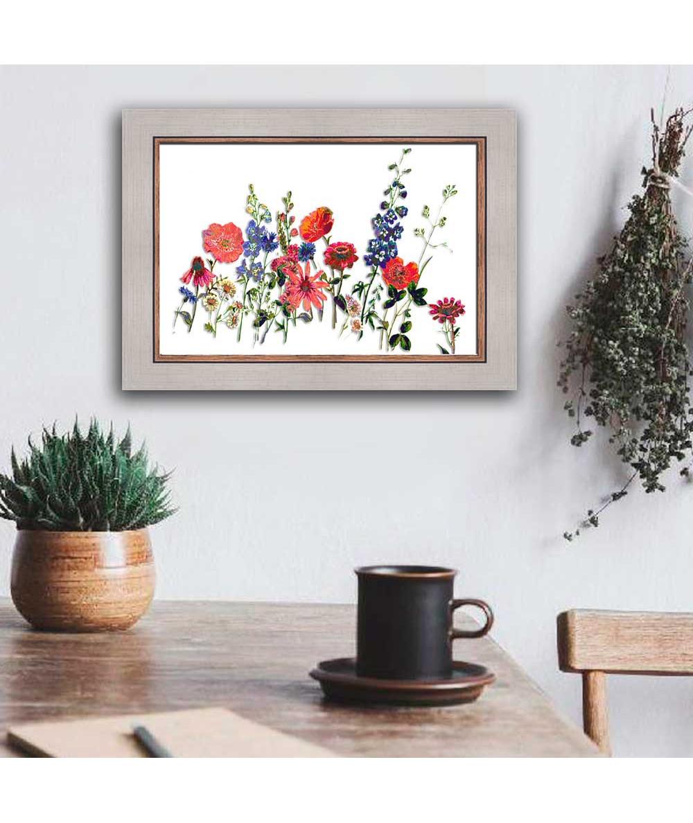 Kwiaty malowane akwarelami obraz Kwitnąca łąka