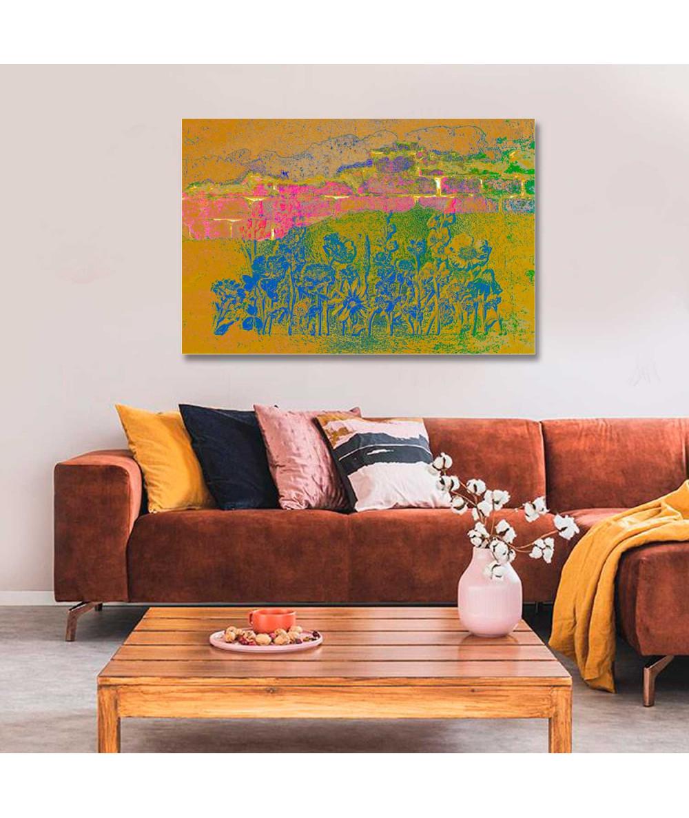 Obrazy kwiaty - Obrazy nowoczesne abstrakcja Różowe cegły