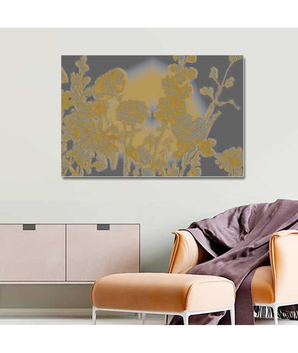 Obraz na płótnie Obraz nowoczesny do salonu Szary z żółtymi kwiatami