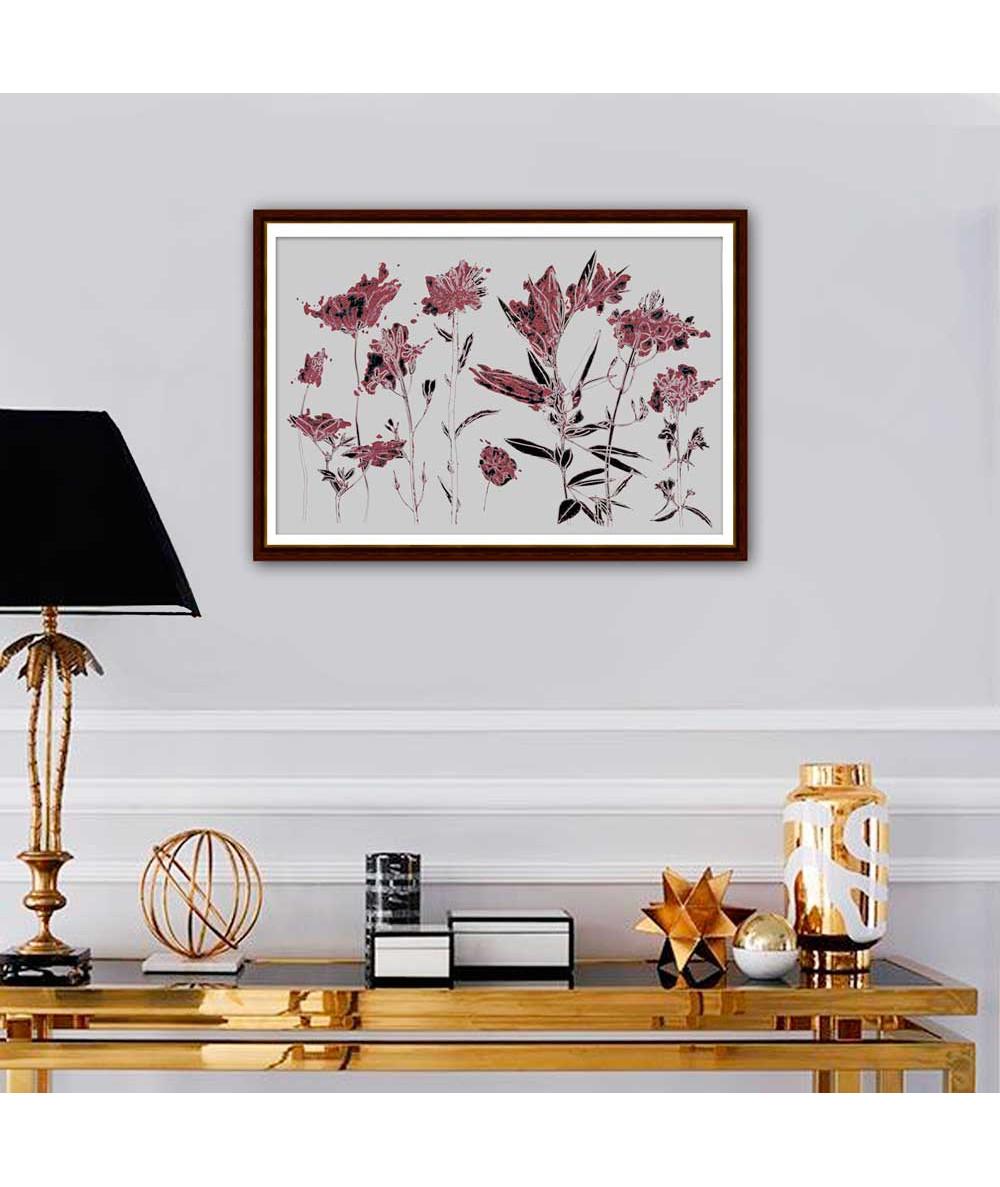 Kwiaty grafika na ścianę Grafika kwiatowa