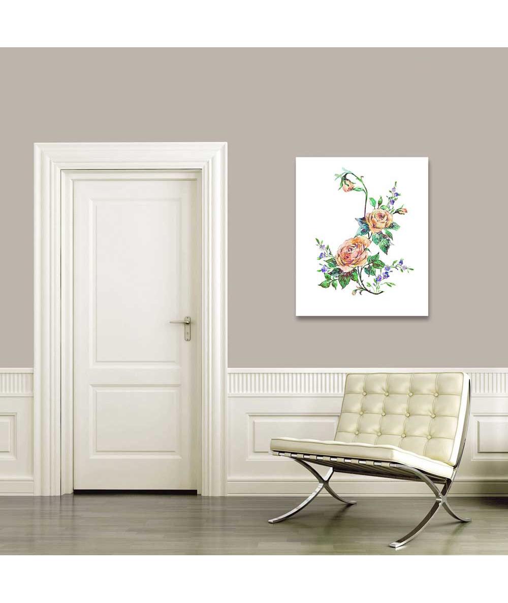 Obrazy z roślinami Botanika Rysunek kredkami kwiaty Rysunek róży